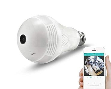 SmartCam 2MP 960/1080p Bulb Shape Fisheye 360° Panoramic Wireless WiFi IP CCTV Security Camera with Coloured Night Vision