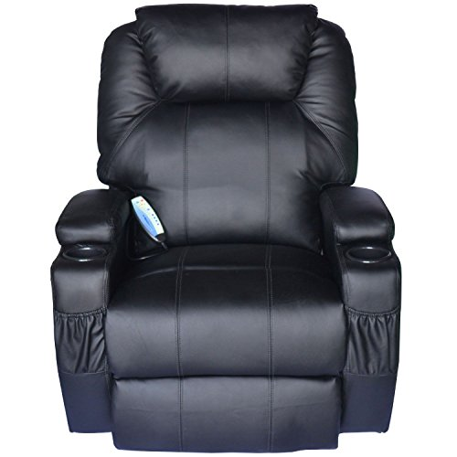 HomCom PU Leather Heated Vibrating 360 Degree Swivel Massage Recliner Chair with Remote - Black