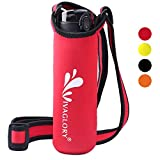 Vivaglory Insulated Neoprene Water Bottle Carrier with Adjustable Wide Shoulder Strap Sling for Walking, Fits Bottle with 2.8'-3.2' Diameter, Red