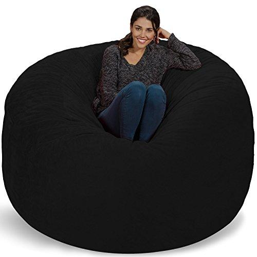 Chill Sack Bean Bag Chair: Giant 6' Memory Foam Furniture Bean Bag - Big Sofa with Soft Micro Fiber Cover, Black Furry