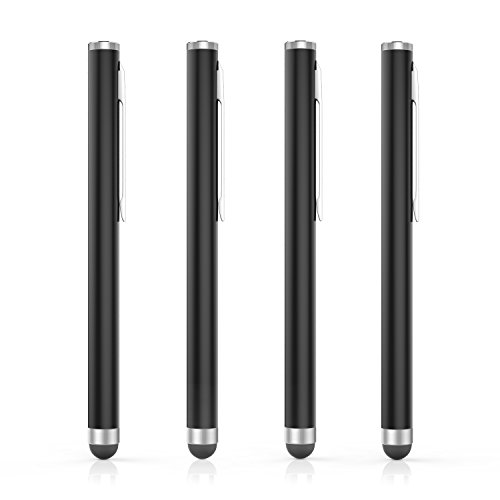 MoKo Rubber Tip Stylus(4PCS), Universal 8mm High-Precision Pen for Touch Screen Devices Smartphones & Tablets (iPad, iPhoneXR/XS/XS MAX,Samsung Galaxy S10/S10+/S10e/Note 8/Note 9) - Black