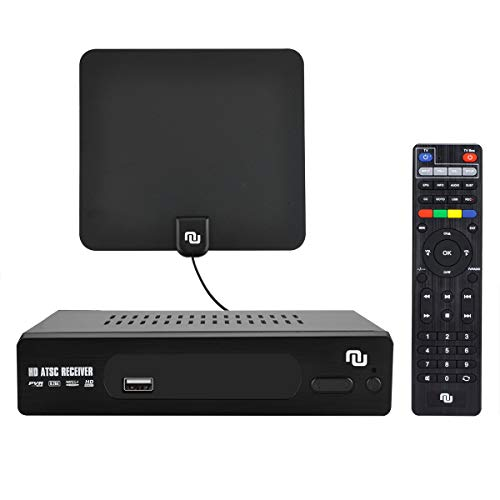 NUNET ATSC HD Digital Converter Box w/ 1080p HDMI Output, 35 Miles Over The Air Antenna & Amplifier, Daily/Weekly Scheduled DVR Recorder Media Player for TVs or Monitors