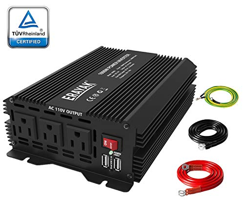 Power Inverter 1000 Watt DC to AC Car Converter with 3 AC Outlets Dual USB Ports