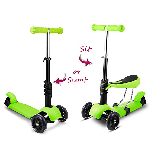 Hikole Scooter with Seat for Kids Toddlers | 3-in-1 Foldable Portable Adjustable 3 Wheels Mini Scooter with LED Light up Wheels for Children Boys Girls 2 Years Old and Up, Supports 110lbs