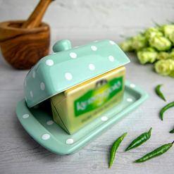 Polka Dot Teal Butter Dish