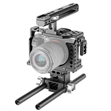 Neewer-Camera-Video-Cage-Rig-Compatible-with-Sony-A7RIIIA7III-Camera-with-Top-Handle-Grip-and-Cold-Shoe-Mount-Aviation-Aluminum-Design-for-Video-Film-Movie-Making