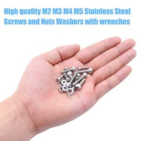 DYWISHKEY-1220-PCS-M2-M3-M4-M5-304-Stainless-Steel-Hex-Socket-Head-Cap-Bolts-Screws-Nuts-Washers-Assortment-Kit-with-Hex-Wrenches