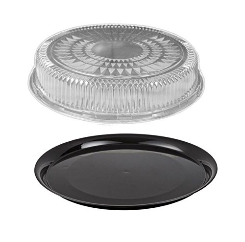Durable-Packaging-12-Black-Round-Flat-Disposable-Catering-Party-Tray-Food-Platter-Clear-Dome-Lid-pack-of-10