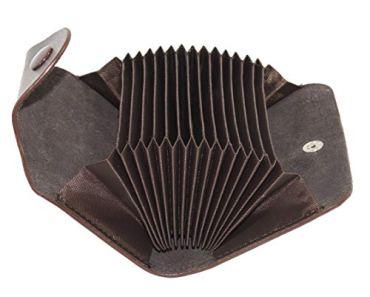 Storite 13 Slots Leather Credit Card Holder Wallet Case (10.5 x 7.5 x 2.6 cm, Brown)