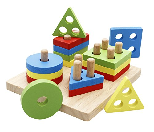 Stacking Toy Puzzles : Lewo wooden shapes sorter toys educational preschool