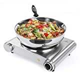 SUNAVO Hot Plate for Cooking Electric, Single Hotplate Burner 1500W, Portable hob Cooktop,Variable Temperature Controllers,Table Top Hot Plate Stainless Steel Silver