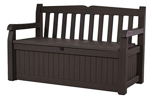 Keter 213126 Eden 70 Gallon All Weather Outdoor Patio Storage Garden Bench Deck Box, Brown
