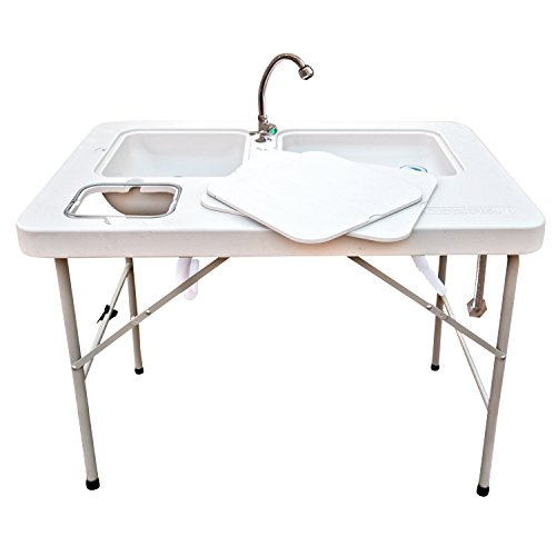 Coldcreek Outfitters Outdoor Washing Table and Sink, Ultimate Utility Work Station with Removable Faucet for Cleaning Fish or Game, Foldable Camp Table with Sink
