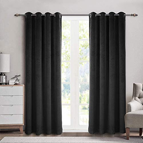 SINGINGLORY Velvet Curtains 2 Panels Set, Blackout Thermal Insulated Velour Grommet Drapes with 2 Tiebacks for Bedroom and Living Room (52 x 84 inch, Black)