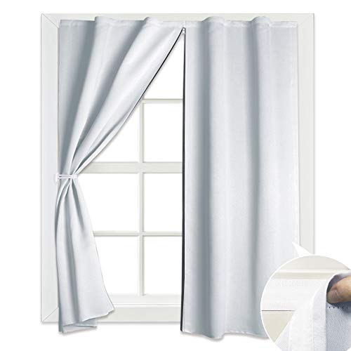 Home Theater Curtain Shade Hang Without Rod, Potable Bathroom Privacy Drapes with Sealed Middle Zip Full Room Darkening Panel for No Curtain Rod Window/Wall Drapes, 52 x 45 inch, Greyish White