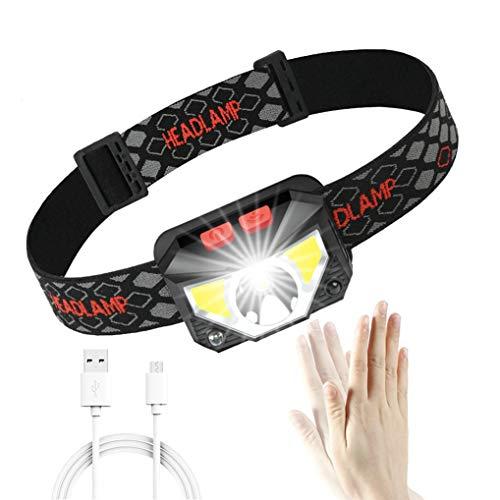 GuDoQi Linterna Frontal LED USB Recargable con Sensor De Movimiento Lámpara De Cabeza 6 Modos 500LM...