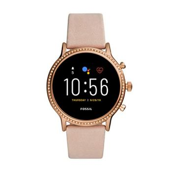 Fossil Gen 5 Julianna HR Heart Rate Stainless Steel and Leather Touchscreen Smartwatch, Color: Rose Gold, Blush (Model: FTW6054)
