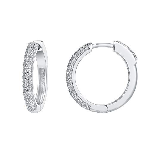 PAVOI 14K Gold Plated 925 Sterling Silver Cubic Zirconia Hoop Earrings   White Gold Hoops
