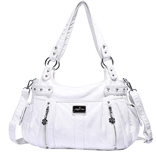 Angelkiss Design Handbags Womens Purse Feel Soft Lether Multiple Top Zipper Pockets Shoulder Bags Large ...
