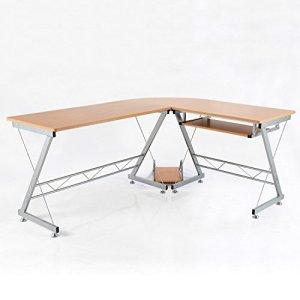 HomCom 67-Inch L-Shaped Computer Desk - Brown