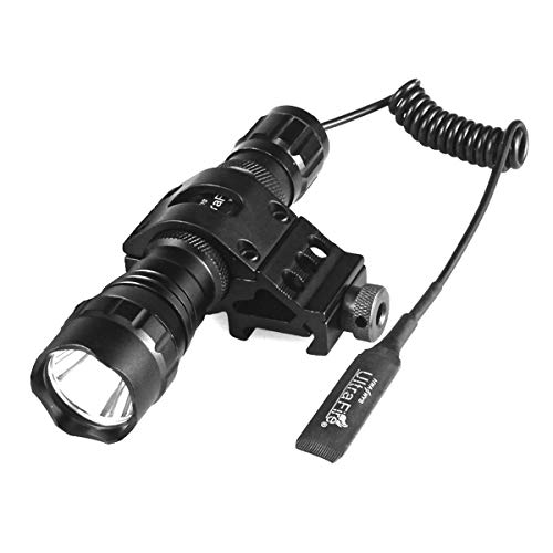 ULTRAFIRE Single Mode Tactical Flashlight WF-501B, XP-L V6 LED Light 1000 Lumens with Pressure Switch and 1'' Offset Mount Bright Torch for Hunting, Hiking