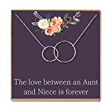 Dear Ava Aunt-Niece Necklace: Aunt-Niece Gift, Aunt-Niece Jewelry, Aunt-Niece Quotes, Aunt Necklace, 2 Interlocking Circles (Silver-Plated-Brass, NA)