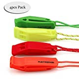 RAYVENGE Safety Whistle Lanyard (4 Pack) Boating Camping Hiking Hunting Emergency Survival Rescue Signaling