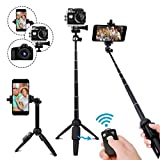 Selfie Stick Tripod,40 Inch Extendable Selfie Stick Tripod with Wireless Remote Control,Compatible with iPhone 6 7 8 X Plus, Samsung Galaxy S9 Note8, Gopro,Digital Cameras