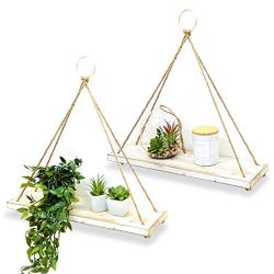 BAMB2 Wall Hanging Shelf (Set of 2) – Farmhouse Plant Hangers for Home & Office – Rustic Home Décor – Mounting Accessories Included – Practical and Sturdy Design – Ideal for Pots, Books, Frames