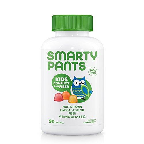 SmartyPants Kids Complete and Fiber Gummy Vitamins: Multivitamin, Prebiotic Fiber & Omega 3 Fish Oil (DHA/EPA Fatty Acids), 90 Count