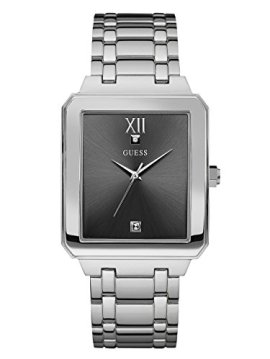 GUESS Rectangular Stainless Steel Grey Genuine Diamond Dial Bracelet Watch. Color: Silver-Tone (Model: U0917G2)