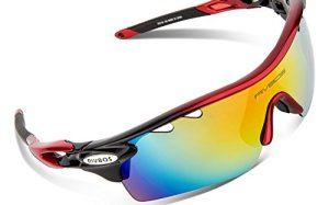 RIVBOS 801 POLARIZED Sports Sunglasses with 5 Interchangeable Lenses (Red&Grey)