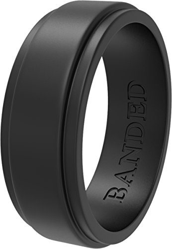 BANDED GLORY Silicone Wedding Ring for Men, Rubber Wedding Bands, Step Edge Design, Wide Black 10