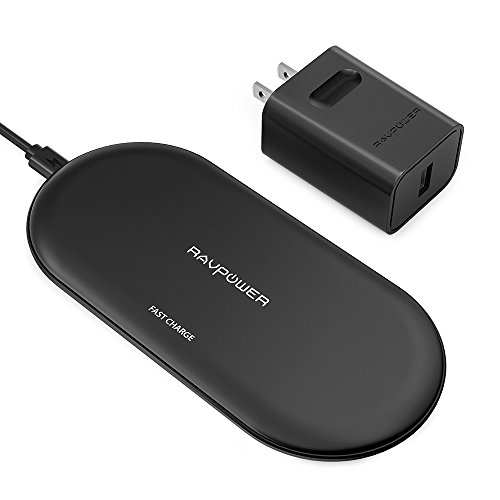 Wireless Charging Pad RAVPower Qi Fast Wireless Charger with 4 Coils 10W for Galaxy S9+ S9 S8+ S8, Compatible iPhone Xs MAX XR XS X 8 Plus & All Qi-Enabled Devices (QC 3.0 Adapter Included)