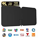 HDTV Antenna, 1byone 100-Mile Indoor/Outdoor Amplified Digital TV Antenna-Weather Resistant Support UHF/VHF/1080P HD Freeview Channels, 26 Feet Coaxial Cable (Black)