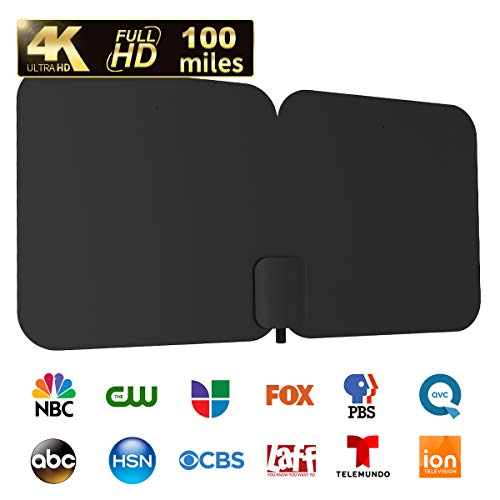 HDTV Antenna, 1byone 100-Mile Indoor/Outdoor Amplified Digital TV Antenna-Weather Resistant Support UHF/VHF/1080P HD Freeview Channels, 26 Feet Coax Cable (Black)