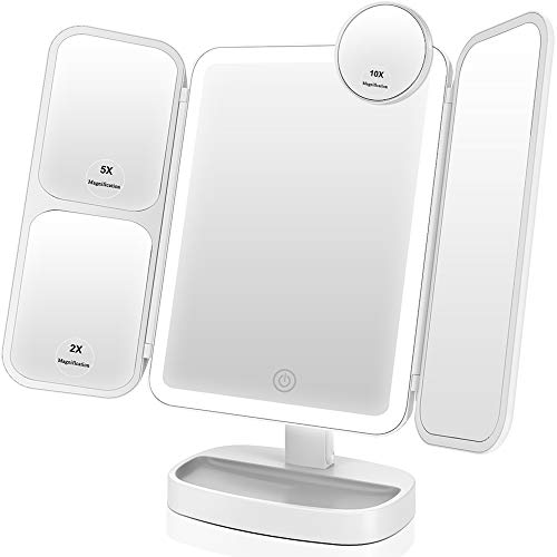 EASEHOLD Makeup Vanity Mirror with 1000LUX Bright LEDs Soft Natural 1X/2X/5X/10X...