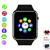 Smartwatch, Bluetooth Smart Watch with SIM Card Slot Camera Pedometer Text Call Notifications Compatible with Android Samsung LG Sony and iPhone (Partial Functions) for Men Kids Boys