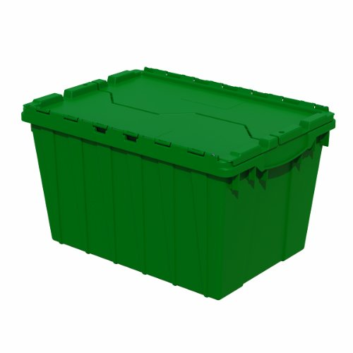 Akro-Mils 39120 21.5-Inch L by 15-Inch W by 12.5-Inch H 6-Pack Attached Lid Container Plastic Storage and Distribution Tote with Hinged Lid, Green
