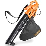 Dynastar VonHaus 220 Volt 3 in 1 Leaf Blower, Garden Vacuum & Mulcher - 2600W - Large 35 Litre Collection Bag | Bundle Plug Adapter(NOT for USA)