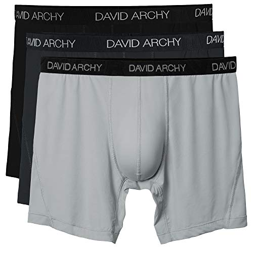 David Archy 3 Pack Men's Ultra Fast Dry Performance Boxer Briefs(Black/Dark Gray/Light Gray-Solid,S)