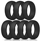 ThunderFit Silicone Rings, 7 Pack/Single Ring Wedding Bands for Men - 8.7 mm Wide (7 Black Rings, 5.5-6 (16.5mm))