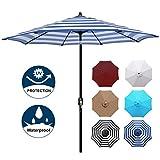 Blissun 9' Patio Umbrella Aluminum Manual Push Button Tilt and Crank Garden Parasol (Blue and White)