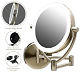 Ovente LED Lighted Wall Mount Makeup Mirror, 7.5 Inch, Battery or USB Adapter Operated, 1x/10x Magnification, Nickel Brushed (MLW75BR)