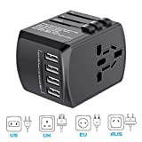 Travel Adapter Universal, International Travel Power Adapter High Speed 4xUSB Worldwide Wall Charger, All in One AC Plug for Europe, UK, China, Australia, Japan- Perfect for Laptop, Cell Phones
