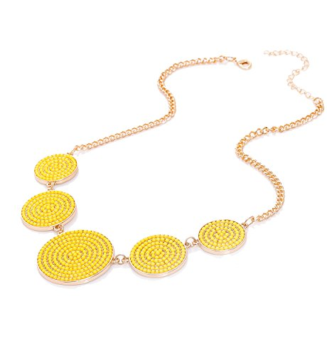 Boderier Bib Necklace Seed Bead Disc Statement Necklace Beaded Circular Pendant Chunky Choker Necklace Jewelry (Yellow)