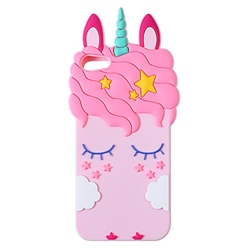 Joyleop Pink Unicorn Case for iPod Touch 6 5 Generation,Cute 3D Cartoon Animal Cover,Kids Girls Soft Silicone Gel Rubber Kawaii Fun Cool Unique Character Skin Protector Cases Touch 5th 6th Gen