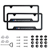 jiayuandz 2pcs M Performance Logo License Plate Stainless Steel Frame with Carbon Fiber Textured Glossy Finish Logo for BMW (M Performance)