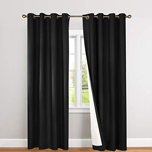 Lined Thermal Blackout Curtains for Living Room 63 Inches Long Light Blocking Curtain Panels for Bedroom, Black, Grommet Top, 2 Panels