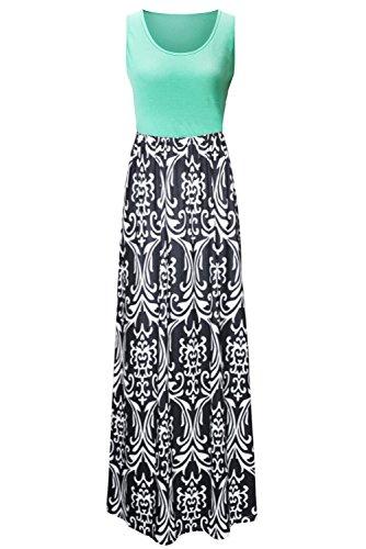 845ed301d9 Zattcas Womens Summer Contrast Sleeveless Tank Top Floral Print Maxi ...